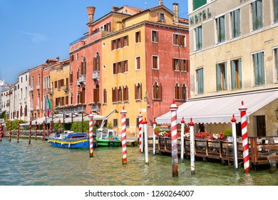 Colorful traditional houses along Grand Canal in Venice, Italy