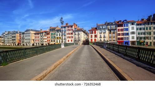 Colorful traditional houses in Bayonne, french Basque Country, France