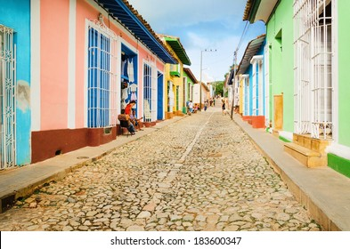 Colorful traditional houses in the colonial town of Trinidad in Cuba