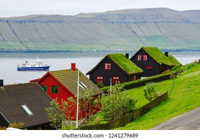 Colorful traditional houses with grass roofs on the Faroe Islands