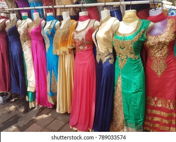 Colorful traditional Indian costume/outfit for women selling at the street vendors in Mumbai Market, India.