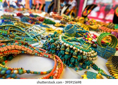 Colorful traditional jewelry sold at weekly market