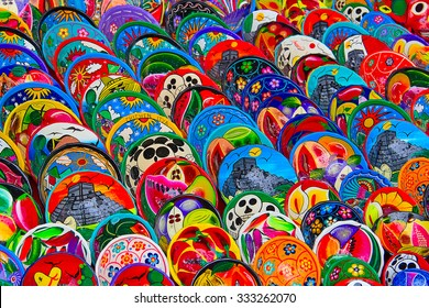 Colorful traditional mexican ceramics on the street market