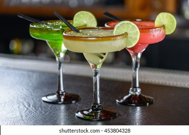 Colorful Traditional Mexican food and drink dishes pina colada margarita