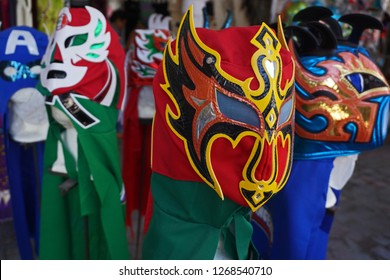 Colorful Traditional Mexican Lucha Libre Wrestling Masks