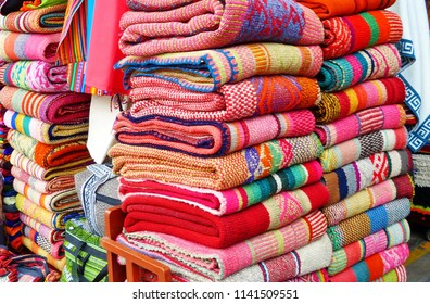 Colorful traditional peruvian, andean handmade (handicraft) rug textile in Indian Market Miraflores, Lima, Peru