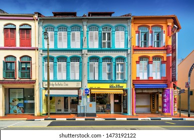 Colorful traditional Sino-Portuguese shophouses on South Bridge Road in Singapore's Chinatown district, in March 2017