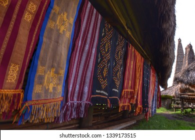 The colorful traditional Sumba cloth is being aired