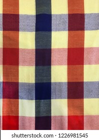 colorful traditional Thai cultural handmade fabric: loincloth (Commer band, Kamar band), checker plaid or bathing cloth. Backdrop, background, pattern, texture, textile, stripe, style, design concept
