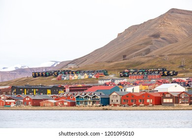 Colorful traditional wooden houses of Longyearbyen town in Svalbard.