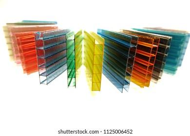 Colorful transparent polycarbonate sheets.