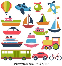 Colorful transport icons collection. Raster version