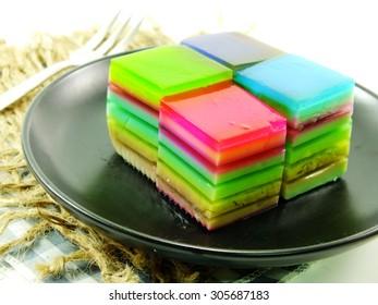 colorful treat of rainbow layered gelatin dessert