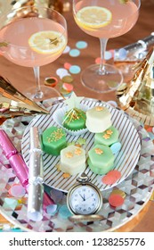 Colorful treats and props for a festive New Years Party 2018 / 2019