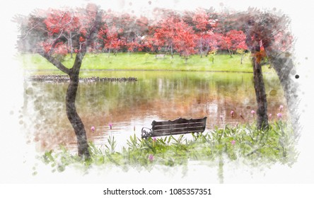 Colorful tree at  park with long bench near the lake( water color paint concept)