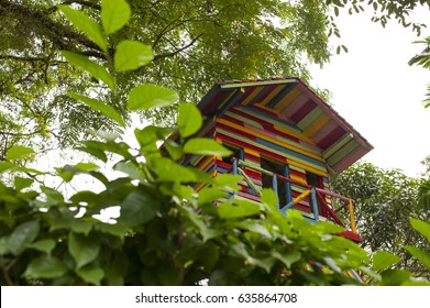 Colorful treehouse in a park.