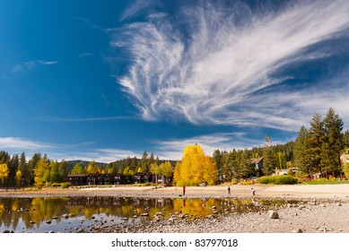 Colorful trees in fall with interesting sky at Lake Tahoe, California