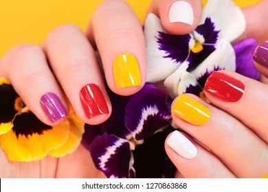 Colorful trendy summer manicure for women's short nails.Nail art.