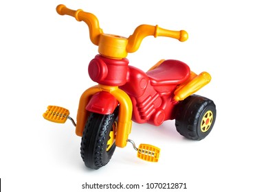 Colorful tricycle for kid isolated on white background.