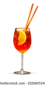 Colorful tropical cocktail with orange straws isolated on white