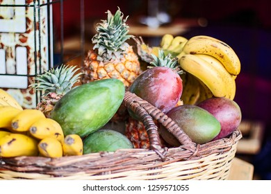Colorful tropical fruit basket.