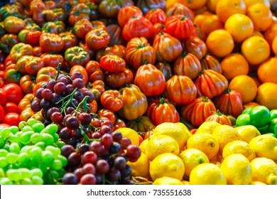 Colorful tropical fruits and vegetables background