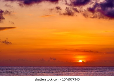 Colorful tropical sunset in famous tourist destination - Bali. Spectacular nature background.