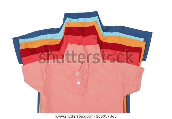 Colorful t-shirt on white background