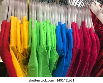 Colorful T-shirt in the shop