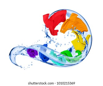 Colorful t-shirts in water splashes isolated on white background