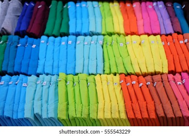 Colorful T-shirts.selective focus.