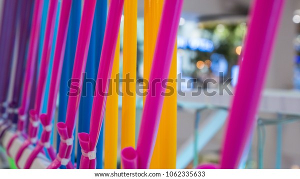 colorful tubes decoration at department store
