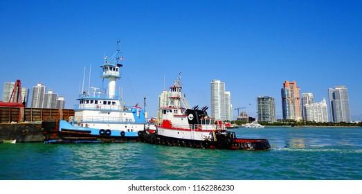 Colorful Tug Boats in the Port of Miami - Miami, Florida (USA)
