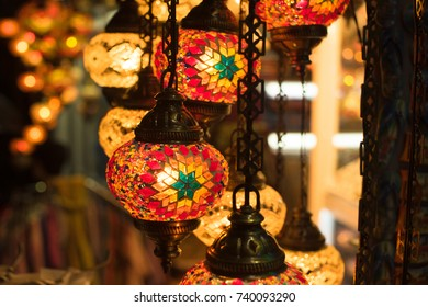 Colorful turkey mosaic glass lamps at the market: Egyptian Bazaar and the Grand Bazaar in Istanbul, Turkey.
