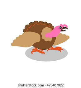 colorful turkey white background. Postcard to the day of Thanksgiving.