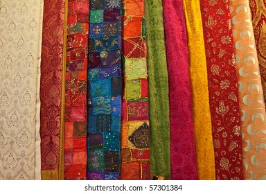Colorful turkish fabric samples on the market