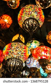 Colorful Turkish lamps in the Grand Bazaar of Istanbul, Turkey