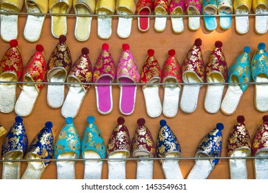 Colorful Turkish Slippers. Traditional Turkish Babouche Slippers for sale at Grand Bazaar in Istanbul, Turkey.