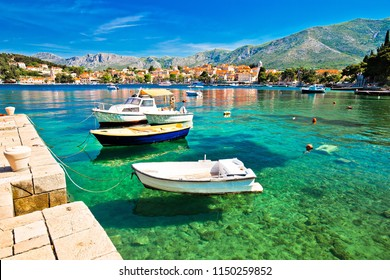 Colorful turquoise waterfront in town of Cavtat, southern Dalmatia coastline of Croatia