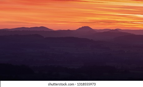Colorful twilight sky over scenic countryside. Shropshire in United Kingdom