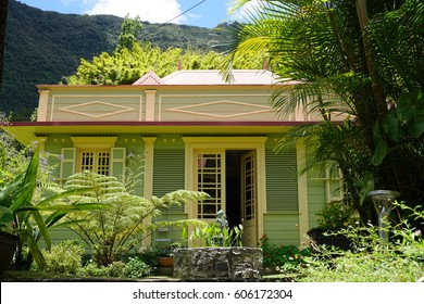 Colorful typical house in the mountains of La Reunion, France
