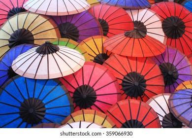 Colorful umbrella in the city of Luang Prabang, Laos.