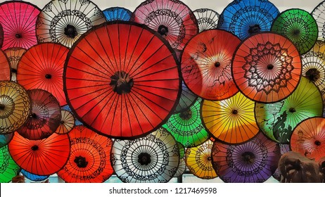 Colorful umbrella in Myanmar