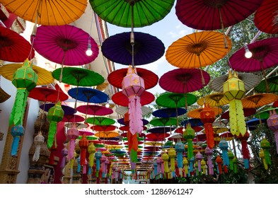 colorful of umbrella in Nan Province, Northern Thailand