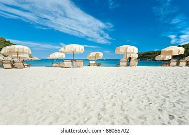Colorful umbrella on the beach, Biodola, Portoferraio, Isola d'Elba.