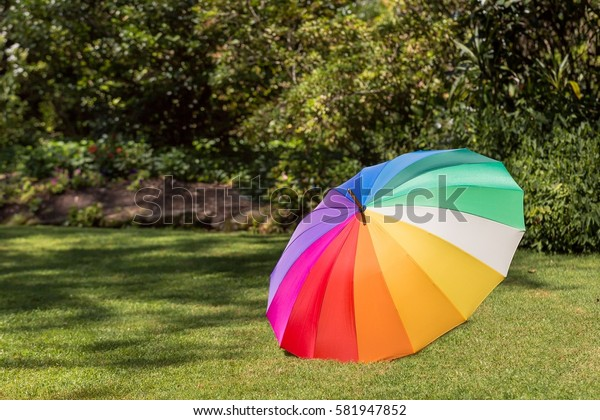 A colorful umbrella on a green grass field in a park