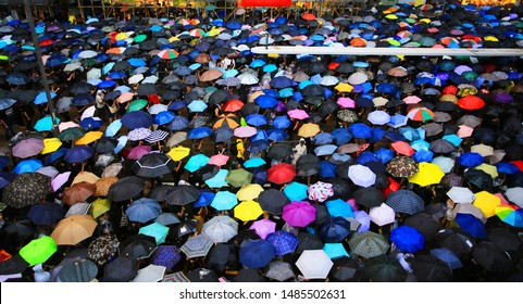 colorful umbrella open in the crowded street on the street on august 18 2019