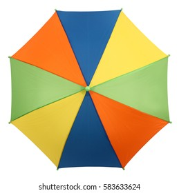 Colorful umbrella or parasol view from above