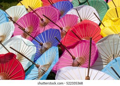 Colorful umbrellas background. Colourful umbrellas urban street decoration Bright Colors backdrop handmade  at chiang mai  thailand