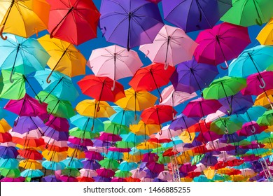 Colorful umbrellas background. Colorful umbrellas in the sky. Street decoration